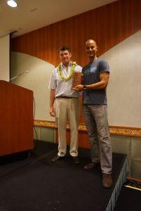 Aaron Lowe Presents Plaque to Ecotour Guide Jason Lee Maui