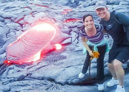 Essential Hawaii Tours lava up close couple