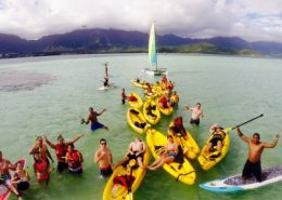 Holokai Kayak Snorkel Adventures Boats at the keyhole