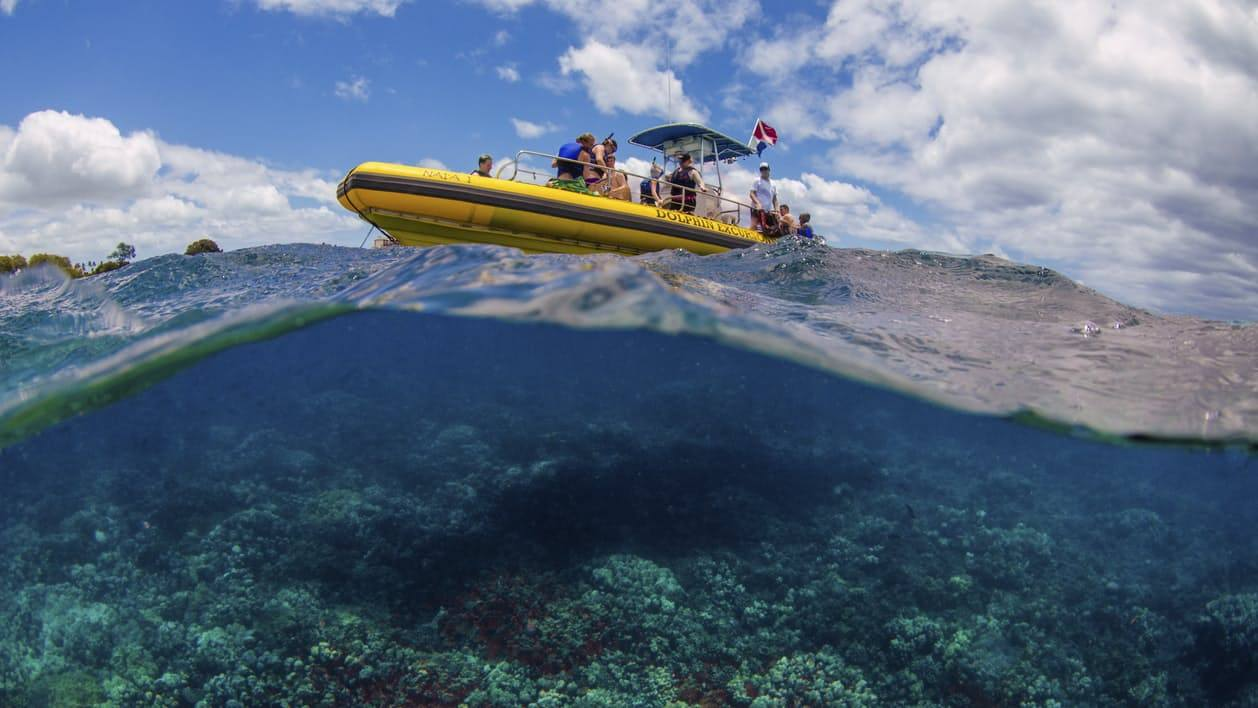 Yellow boat and reef below